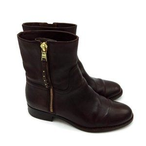 Coach Auburn Brown Leather Side Zip Ankle Boots